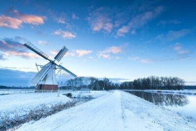 Quadro Holandês, moinho de vento, neve, Inverno