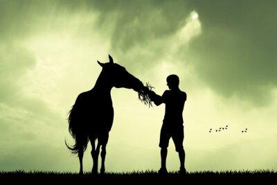 Quadro Homem, cavalo, pôr do sol