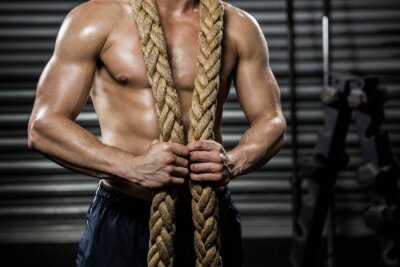 Quadro Homem, com, batalha, corda, ao redor, pescoço