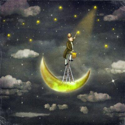 Quadro Homem, draws, estrelas, topo, alto, escada, escuro, céu