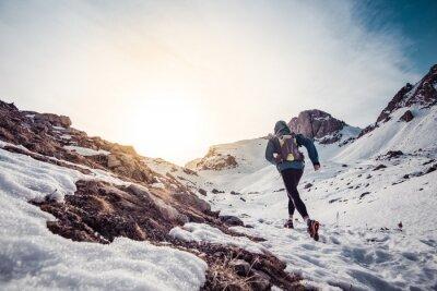 Quadro Homem, Executando, neve, montanha
