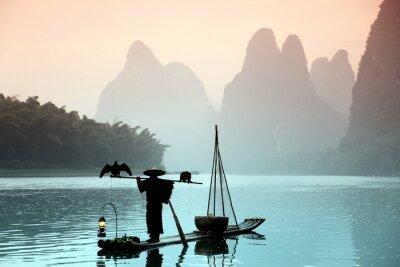 Quadro Homem pesca chinês com cormorões pássaros