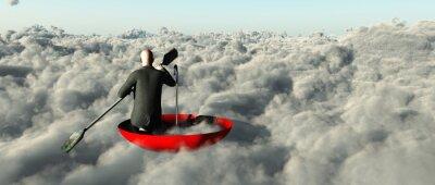 Quadro Homem, remar através, nuvens, upturned, guarda-chuva