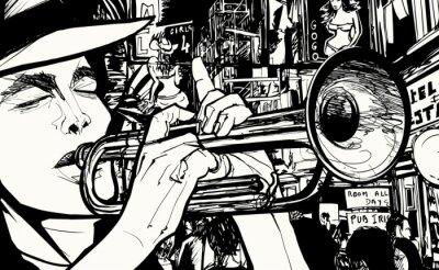 Quadro homem tocando trompete em um distrito da luz vermelha