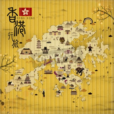 Quadro Hong Kong mapa de viagens com atrações em estilo retro - o título superior esquerdo é Hong Kong viajar em chinês palavra