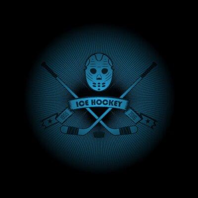 Quadro Hóquei no gelo! Logotipo dos esportes. O emblema que aparece da escuridão. Aperfeiçoe em sua camisa preta! vetor