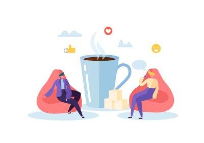 Quadro Hora do almoço de escritório. Personagens de pessoas de negócios na pausa para o café. Empregados conversando, descansando e bebendo bebidas quentes. Ilustração vetorial