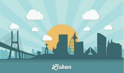 Quadro Horizonte de Lisboa - design plano
