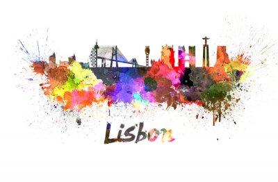 Quadro Horizonte de Lisboa em aquarela