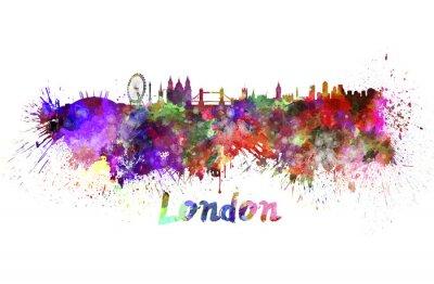 Quadro Horizonte de Londres em aquarela