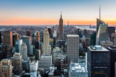 Quadro Horizonte de Nova Iorque ao pôr do sol