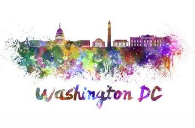 Quadro Horizonte de Washington DC em aquarela