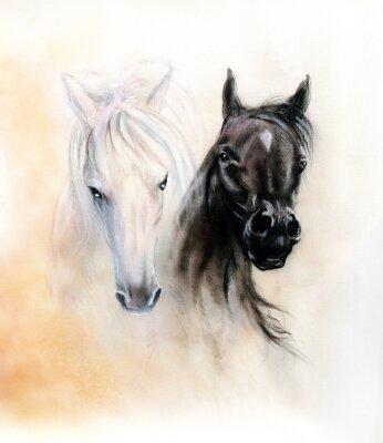 Quadro Horseheads, dois espíritos cavalo preto e branco, bonito detalhe
