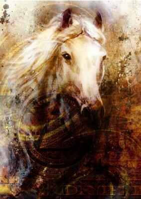 Quadro Horseheads, fundo abstrato ocre, com colagem de um dólar.