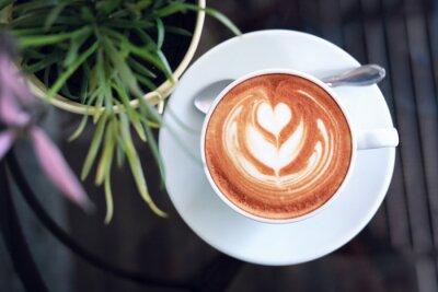 Quadro hot latte coffee in cafe restaurant