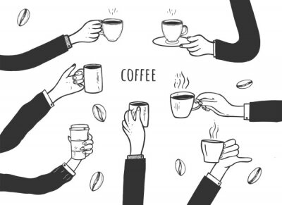 Quadro Human hands with cups of coffee set