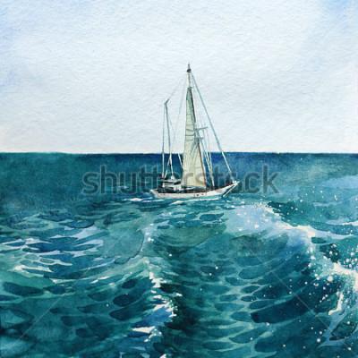 Quadro iate. navio. mar. aguarela. esta imagem pode ser usada como fundo, um objeto independente, como decoração, em cartões postais, papel de parede, impressão