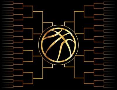 Quadro Ícone e suporte dourados do basquetebol