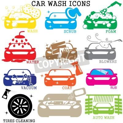 Quadro ícones de lavagem de carros coloridos no fundo branco