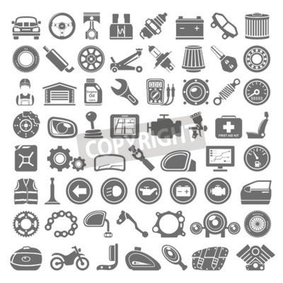 Quadro Ícones pretos - carro e peças da motocicleta