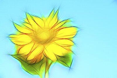 Quadro Illustration gelbe Sonnenblume auf Blau
