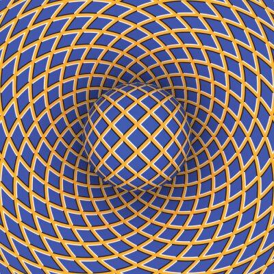 Quadro Ilusão de ótica de rotação da bola contra o fundo de um espaço em movimento.