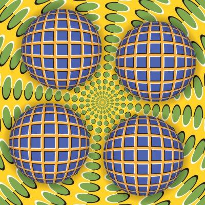 Quadro Ilusão de ótica de rotação de quatro bola em torno de uma superfície em movimento. Resumo de fundo.