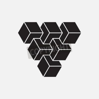 Quadro Ilusão óptica, cubos, elemento geométrico, ilustração do vetor