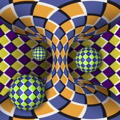 Quadro Ilusão óptica de rotação de três bolas ao redor de um hiperbolóide em movimento. Fundo abstrato.