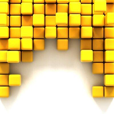 Quadro Ilustração 3d de cubos amarelos