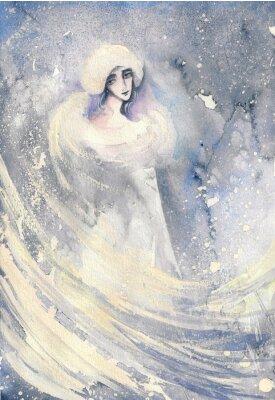 Quadro Ilustração abstrata da aguarela que descreve um retrato de uma mulher-inverno