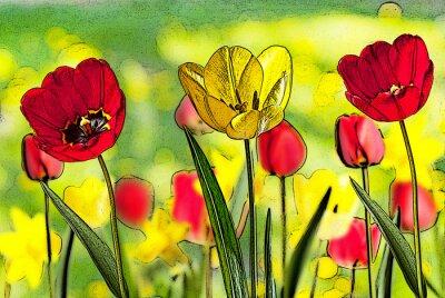 Quadro Ilustração, cama, tulips