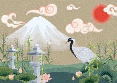 Quadro ilustração com montanha, guindaste, lótus e lanternas