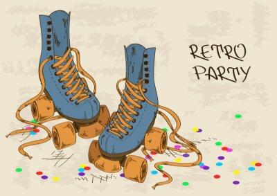Quadro Ilustração com patins retro rolo