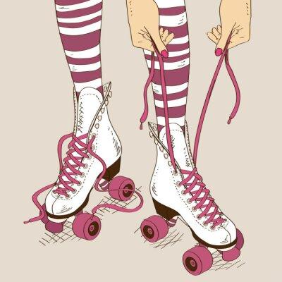 Quadro Ilustração com pernas femininas em patins retro rolo