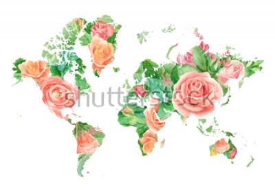 Quadro Ilustração da aguarela do mapa do mundo nas flores. Modelo para projetos DIY, convites de casamento, cartões, cartazes, blogs, site