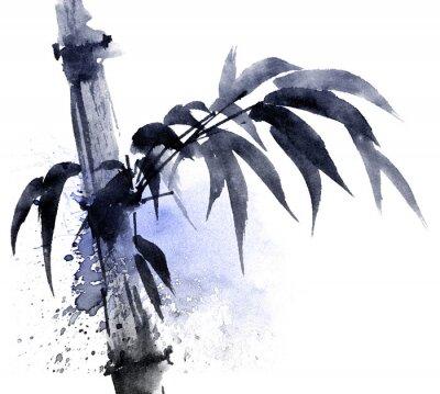 Quadro Ilustração da aguarela e da tinta do bambu com watersplashes da cor. Pintura tradicional oriental no estilo sumi-e, u-sin. Ilustração artística.