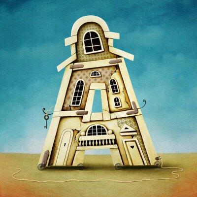 Quadro Ilustração da carta em forma de edifícios