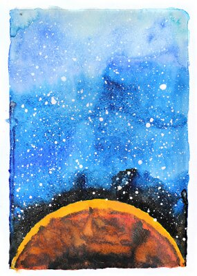 Quadro Ilustração da galáxia da aguarela. Planeta Marte.