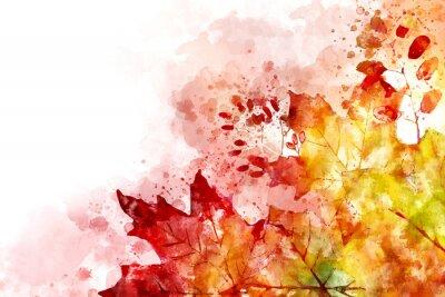 Quadro Ilustração da imagem de queda. Fundo do outono com as folhas de plátano amarelas e vermelhas. Pintura em aquarela digital.