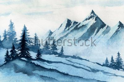 Quadro Ilustração de aquarela. Paisagem as montanhas do inverno, árvores, céu.