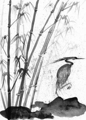 Quadro ilustração de garça aquarela e bambu