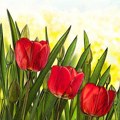 Quadro Ilustração de tulipas vermelhas