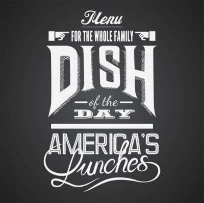 Quadro Ilustração de um elemento gráfico do vintage para o menu no quadro-negro