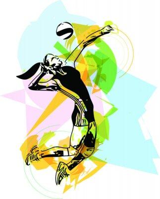 Quadro Ilustração de voleibol jogador jogar