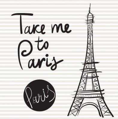Quadro Ilustração desenhada mão do vetor com torre Eiffel