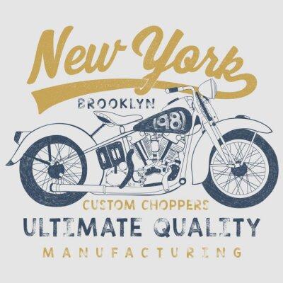 Quadro Ilustração do esboço da motocicleta do vintage com tipografia