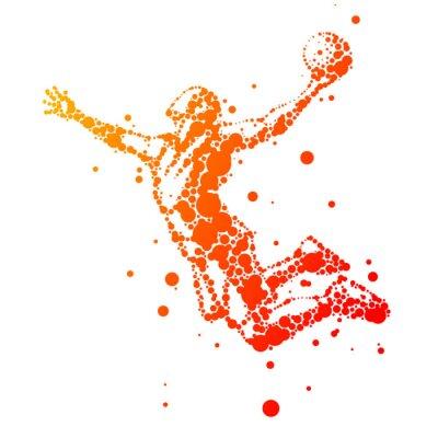 Quadro ilustração do jogador de basquete resumo em salto