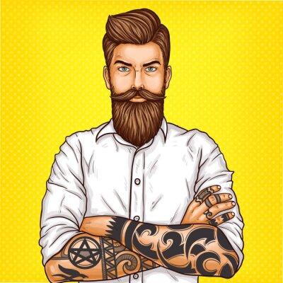Quadro Ilustração do pop art do vetor de um homem farpado brutal, macho com tatoo dobrou seus braços sobre seu peito