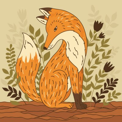 Quadro Ilustração do vetor com a raposa